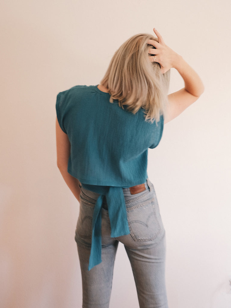Wren Crop Top - Teal Pebble
