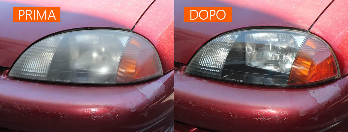 before and after headlight resotration
