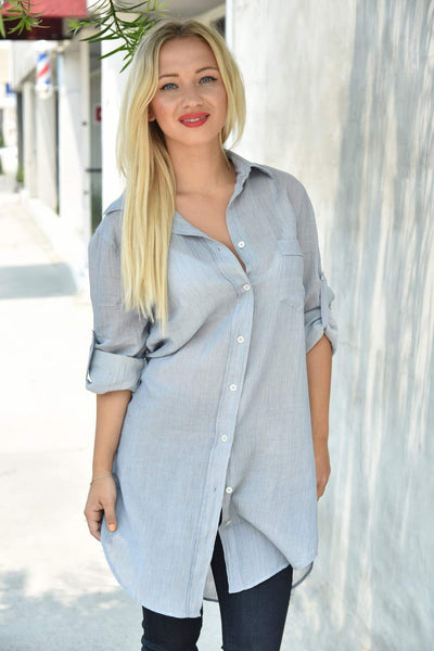 0039 Italy <br> Crinkle  Cotton Tunic Shirt