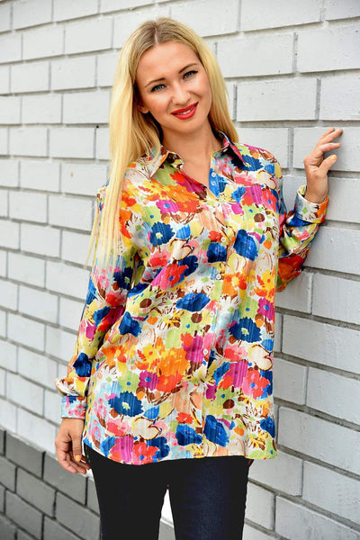 0039 Italy <br>  Flower Print Silk Shirt