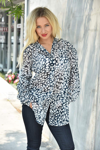 0039 Italy <br> Spotted Print Tunic Shirt