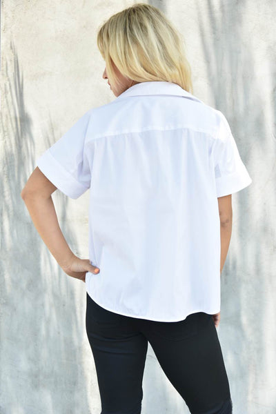 0039 Italy <br> White Cropped Shirt