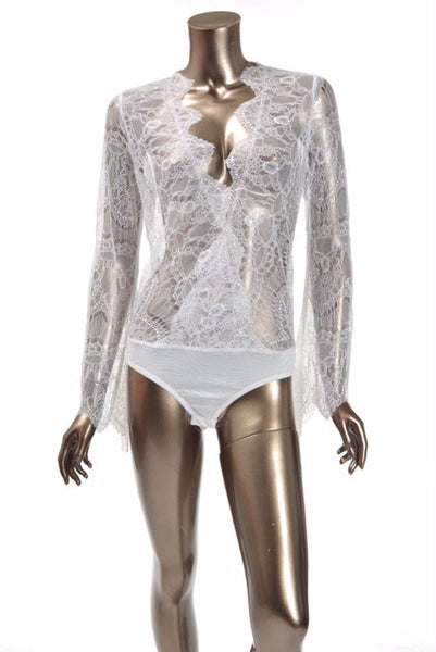 CQbyCQ <br> White Lace Wrap Bodysuit