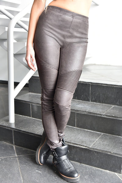 Absolu <br> Faux Suede Moto Leggings