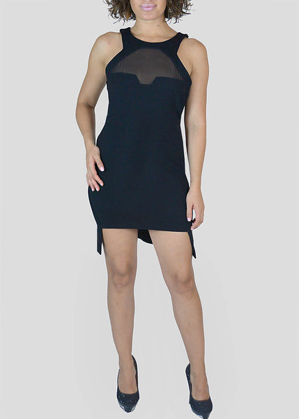 American Retro <br> Black Mesh Detail Mini Dress