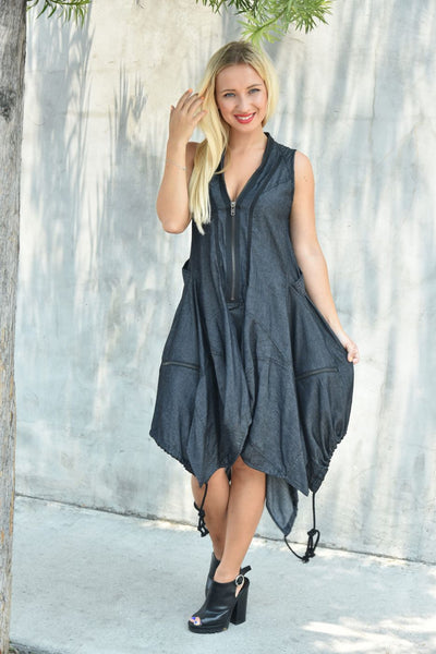 CQbyCQ <br> Black Chambray Bubble Dress