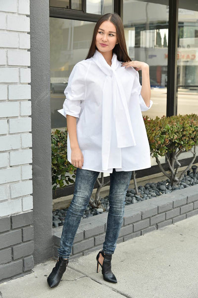 CQbyCQ <br> Oversized Tie Neck Boxy Top