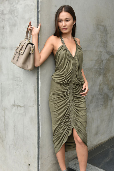 CQbyCQ <br> Olive Jersey Shirred Dress