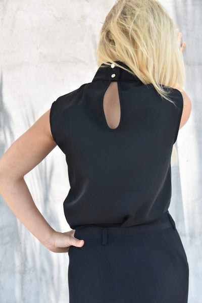 Closet London <br> Black Sleeveless Blouse