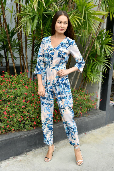 Closet London <br> Blue Floral Print Jumpsuit