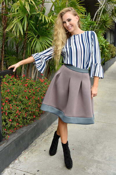 Closet London <br> Contrast Hem Pleated Scuba Skirt