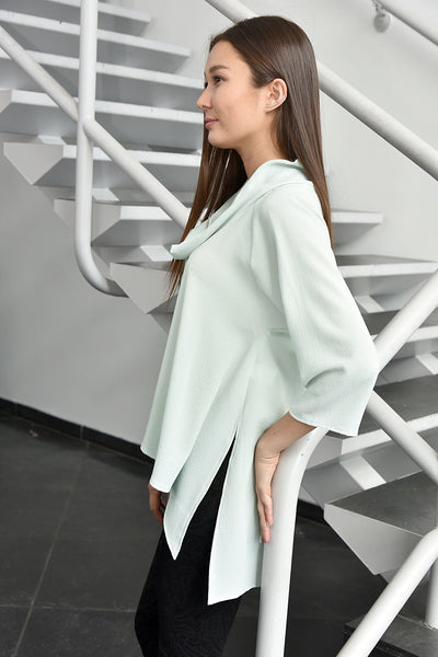 Closet London <br> Cowl Collar Split Side Blouse