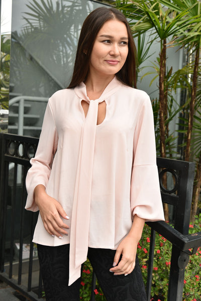 Closet London <br> Pale Pink Bow Tie Blouse