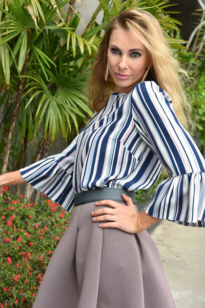 Closet London <br> Striped Flute Sleeve Blouse