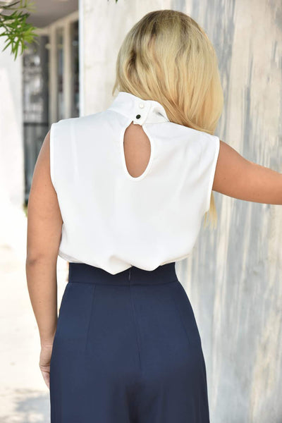 Closet London <br> White Sleeveless Blouse