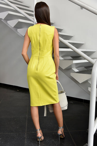 Closet London <br> Lime Yellow Pencil Dress