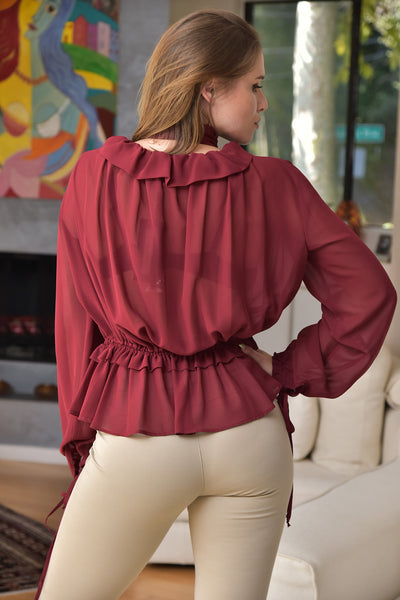 Mariagrazia Panizzi <br> Burgundy Peasant Blouse with Tie