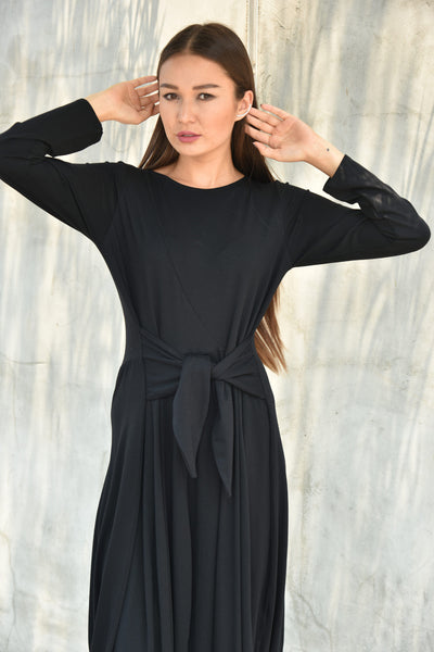 Avivit Yizhar <br> Black Jersey Tulip Dress