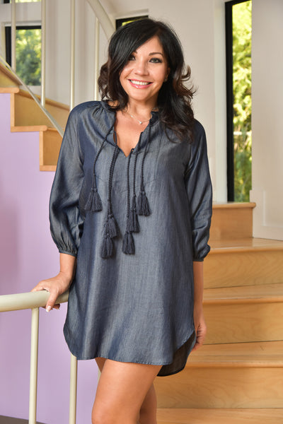 Honey Punch <br> Chambray Tunic Dress with Tassels