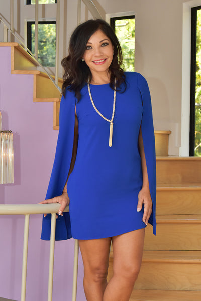 Lumier by Bariano <br> Blue Cape Dress