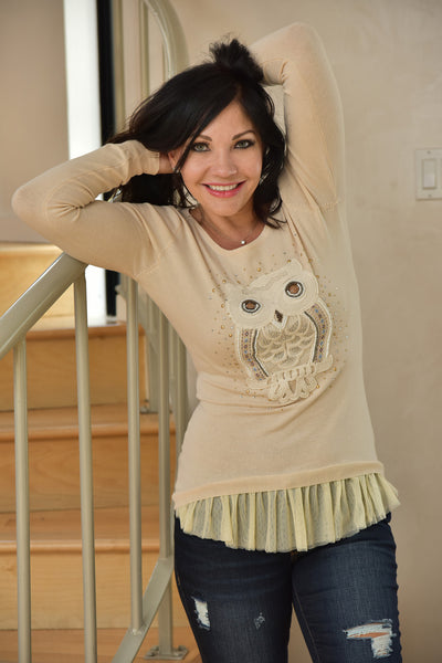 Molly Bracken <br> Beige Owl Sweater