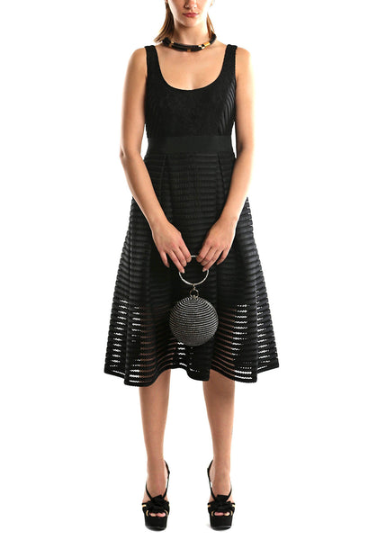 Donna Morgan <br> Black Mesh-Stripe Dress