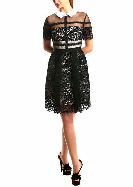 Donna Morgan <br> Fit & Flare Black Lace Dress