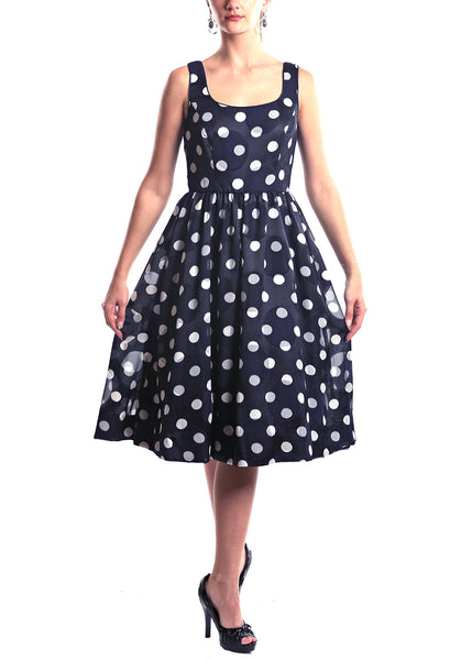 Donna Morgan <br> Navy Polka Dot Swing Dress