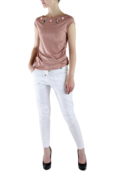 Elisabetta Giusti <br> White Cotton Stretch Pants