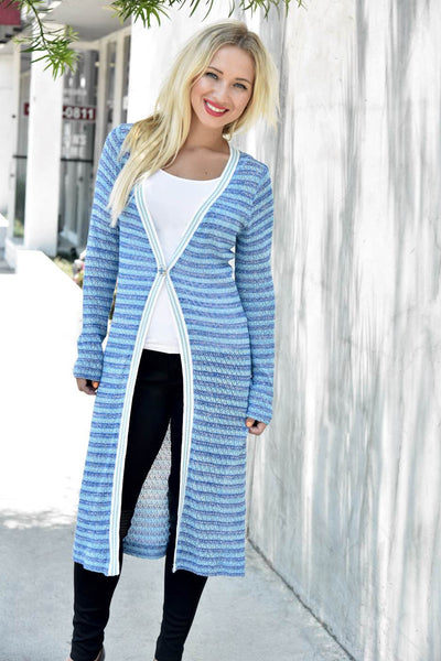 Elisabetta Giusti <br> Striped Long Knit Cardigan