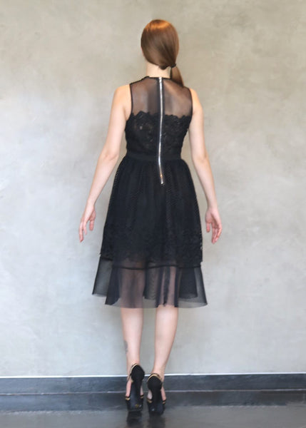 Endless Rose <br> Black Lace & Mesh Dress