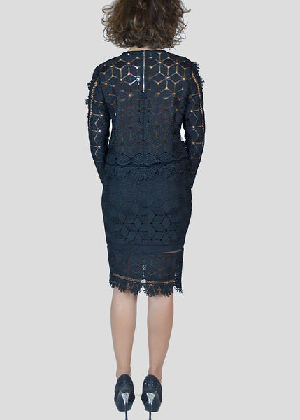 Endless Rose <br> Black Lace Pencil Skirt