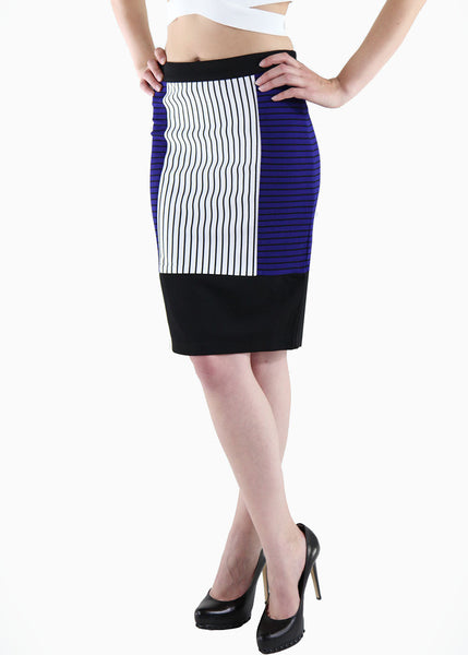 Endless Rose <br> Striped Color block Pencil Skirt