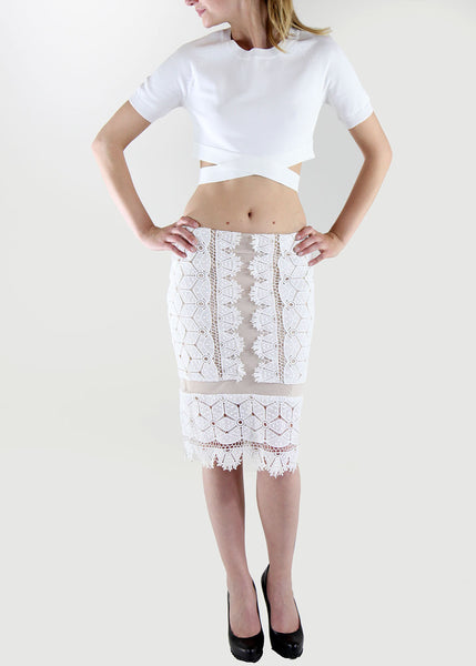 Endless Rose White Lace Pencil Skirt