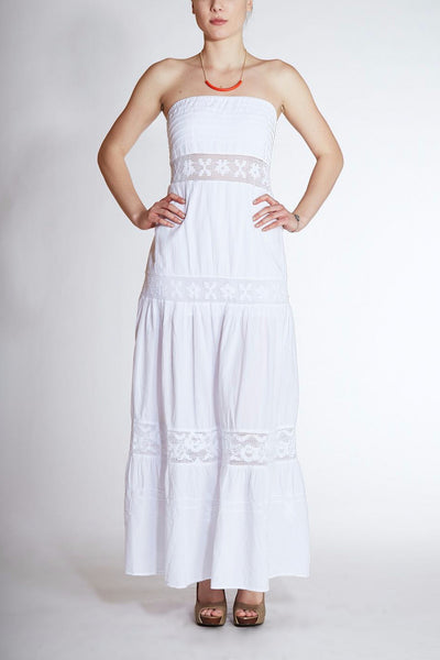 Giocam <br> White Strapless Cotton Dress
