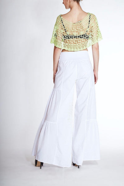 Giocam <br> White Cotton Wide-Leg Pants