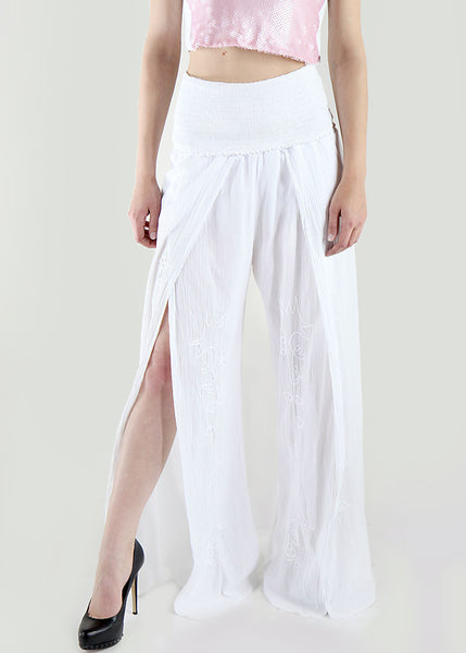 Giocam <br> White Summer Cotton Pants