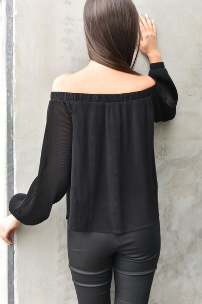JOA <br> Black Off-The-Shoulder Top