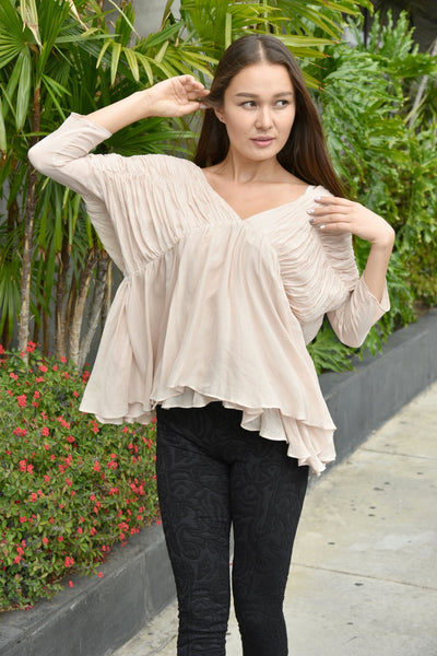 JOA <br> Pink Shirred Peasant Blouse