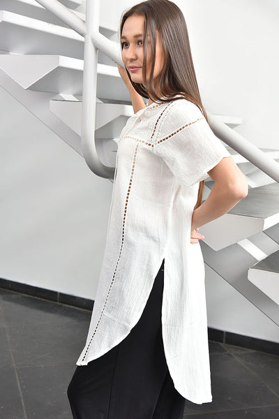 JOA <br> White Embroidered Tunic