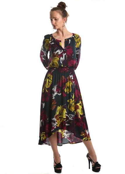 London Times <br> Floral Print High-Low Dress