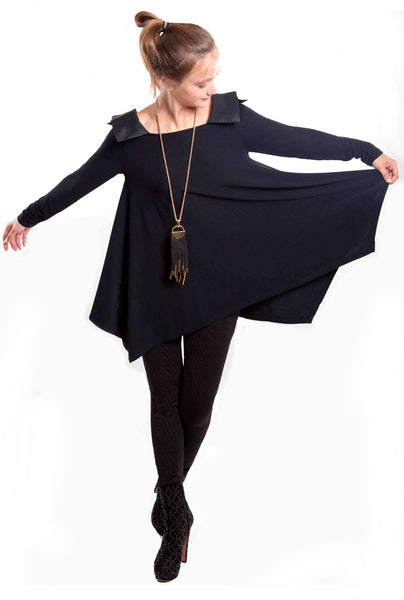 NY77 Design<br> Black Flare Jersey Top with Taffeta Collar