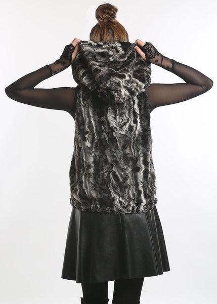 NY77 Design <br> Faux-Fur Chinchilla Hooded Vest