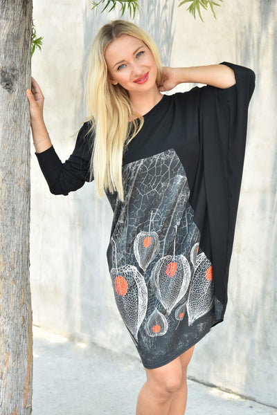 NY77 Design <br> Physalis Print Asymmetric Tunic Dress