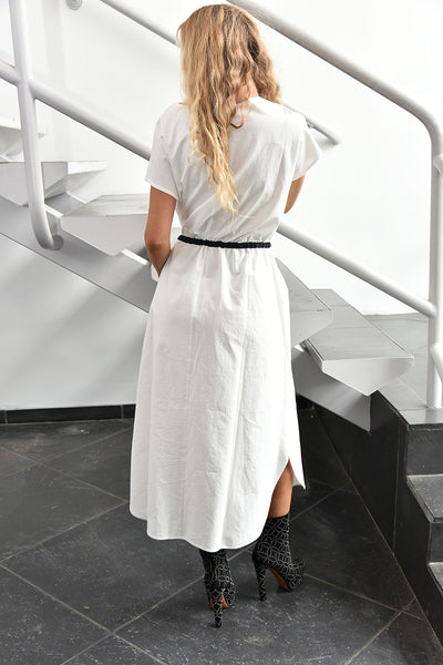 NY77 Design <br> White Long Front-Zip Dress