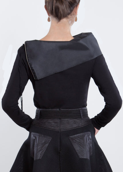 NY77 Design <br> Black Top with Taffeta Collar