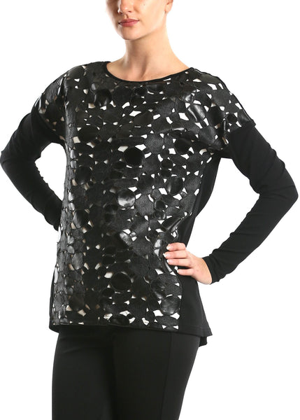 NY77 Design <br> Faux Leather Laser Cut Top