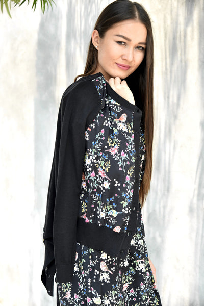 Yumi Bird Print Knit Cardigan