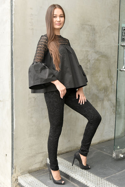 Absolu <br> Black Jacquard Leggings