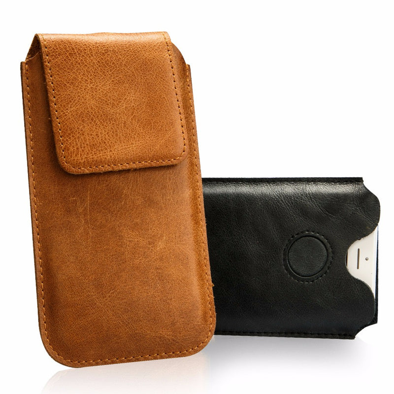 Jisoncase Pouch Bag iPhone 7 8 Plus Case Genuine Leather Luxury Magnetic Closure Cover - Casebuddy